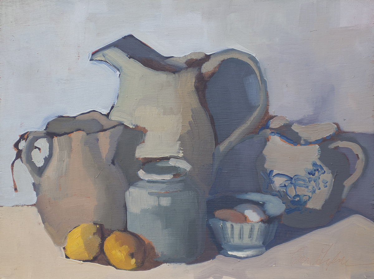 Still Life with Pitcher, Lemons, Eggs in a Bowl by Erin Lee Gafill