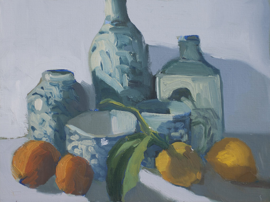 Blue China Pots, Fruit from the Orchard by Erin Lee Gafill