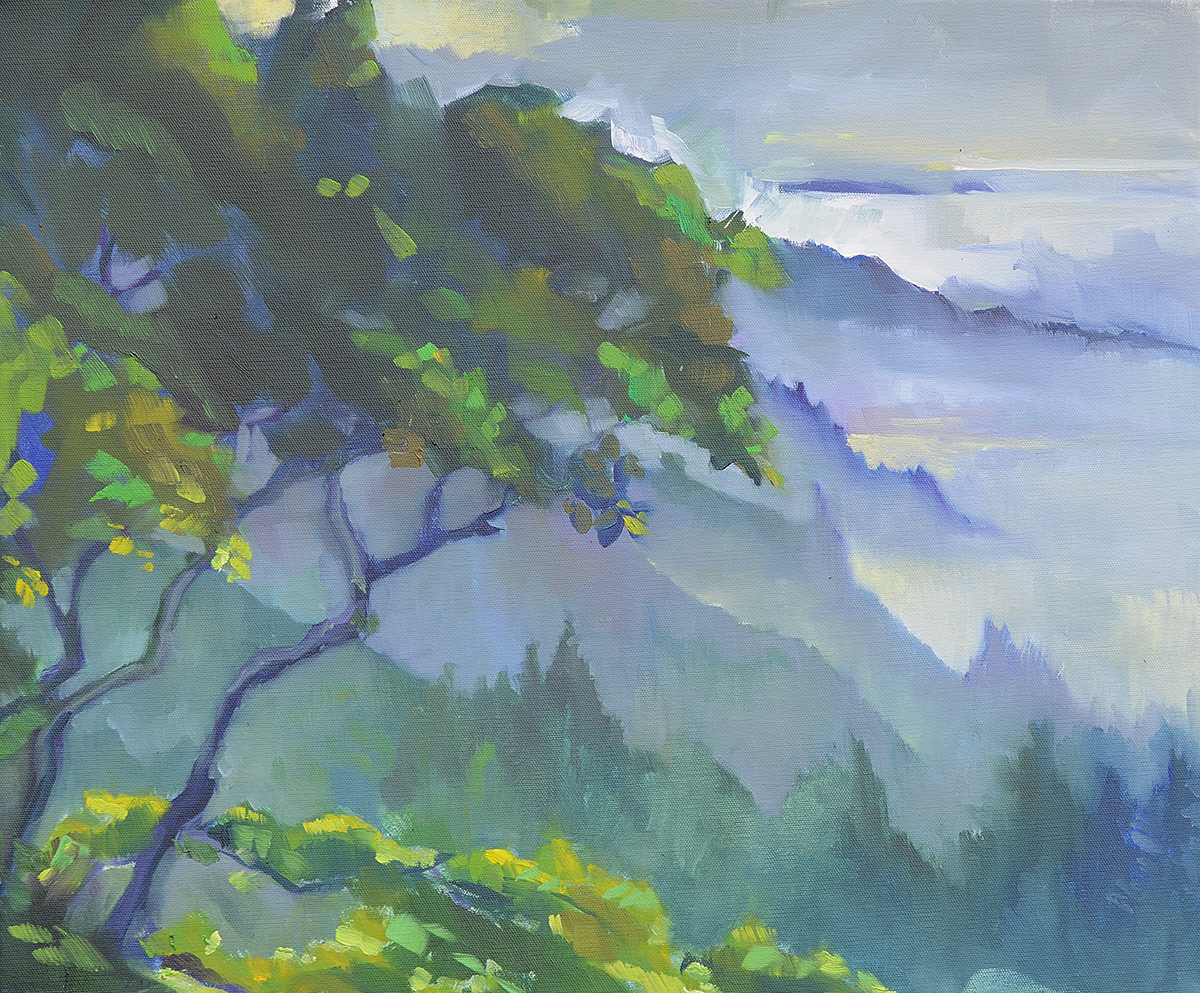 Oak Tree at Nepenthe, Misty Morning by Erin Lee Gafill
