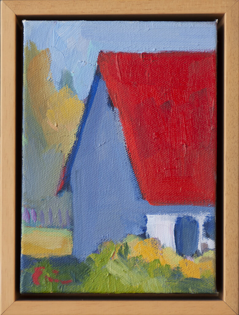 Red Roof, Purple Fence by Erin Lee Gafill