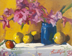 Gladiolus in Cobalt Jar, Yellow Cloth