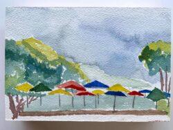 Umbrellas at Nepenthe by Tom Birmingham