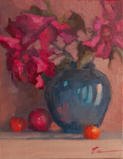 Red Roses in the Cobalt Jar with Fruit by Erin Lee Gafill